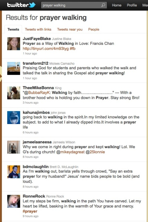 "Screenshot of Twitter ""prayer walk"" results"